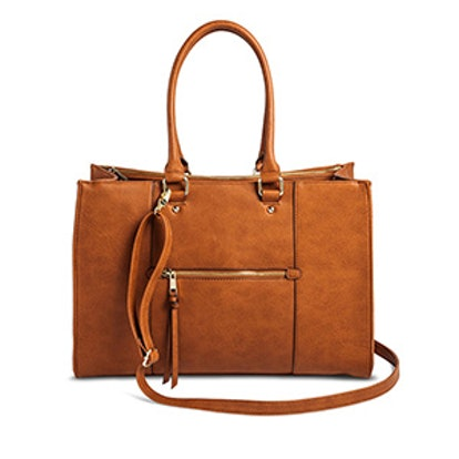 Women's Tote Faux Leather Handbag with Zip Front Pocket