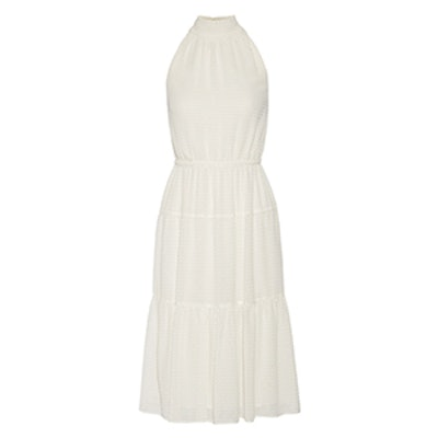 Smocked Fil Coupé Chiffon Midi Dress