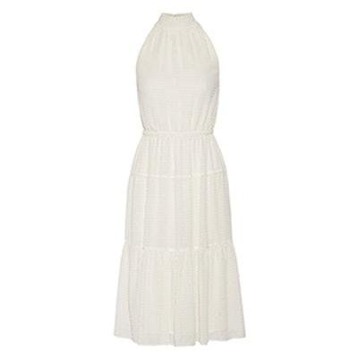 Smocked Fil Coupé Chiffon Midi Dress