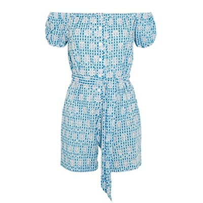 Magda Broderie Anglaise Gingham Cotton Playsuit