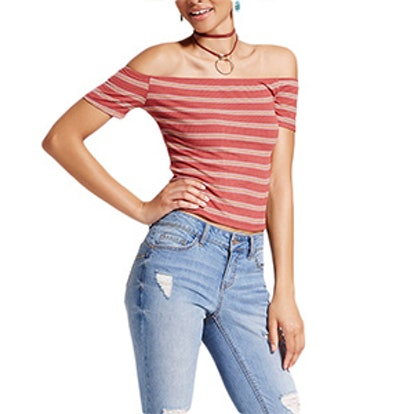 Off The Shoulder Rib Tee