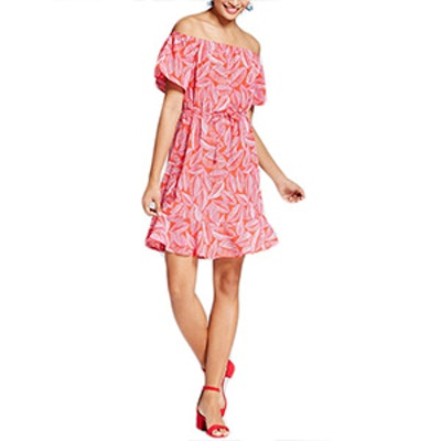 Women's Palm Print Cold Shoulder Dress