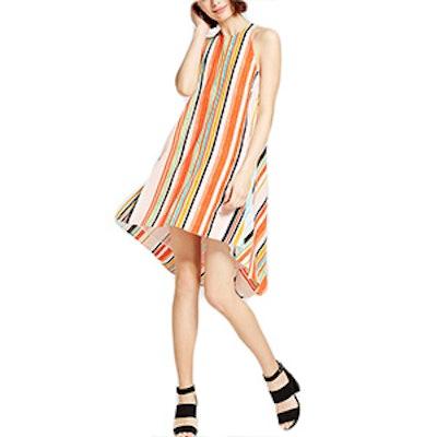 Women's Striped Trapeze Halter Dress