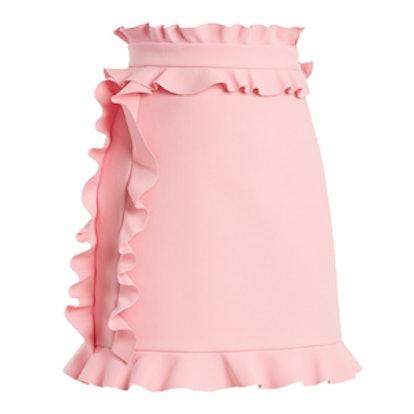 Ruffle-Trimmed Crepe Mini Skirt