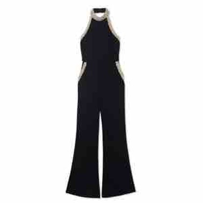 Elinor Pearl-Detail Halter Stretch-Crepe Jumpsuit