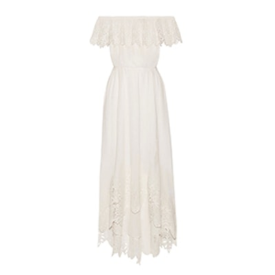 Hasley Off-The-Shoulder Crochet-Trimmed Cotton-Gauze Maxi Dress