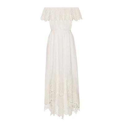 Hasley Off-The-Shoulder Crochet-Trimmed Cotton-Gauze Maxi Dress