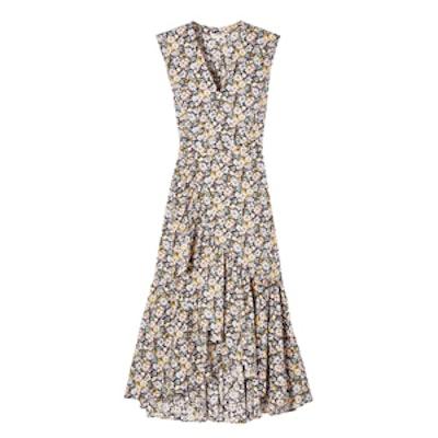 Sleeveless Moonlight Garden Poplin Wrap Dress