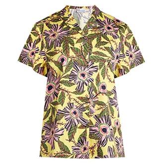 Passion Flower-Print Stretch-Cotton Shirt