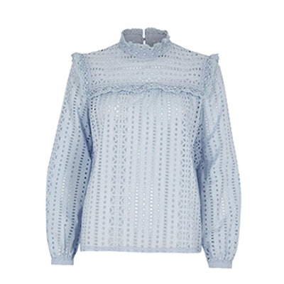 Broderie High Neck Long Sleeve Top