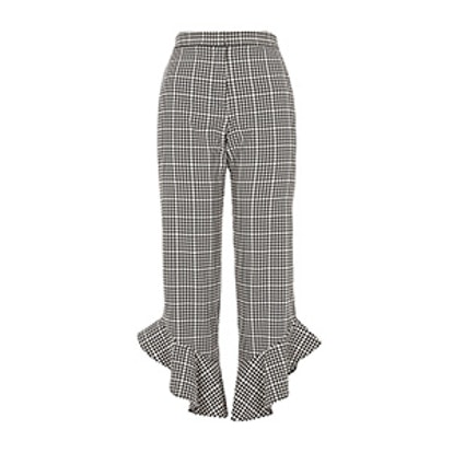 Gingham Frill Hem Cropped Pants