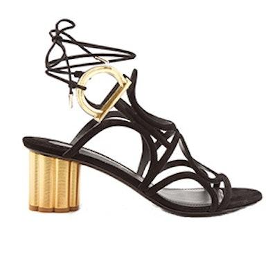 Vinci Flower-Heel Suede Sandals