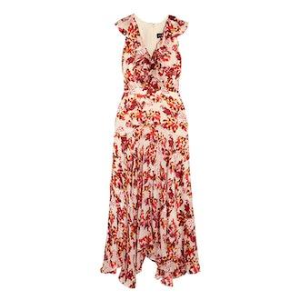 Rita Ruffled Printed Devoré Satin And Chiffon Midi Dress