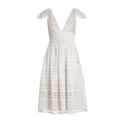 Deep V-Neck Broderie Anglaise Dress