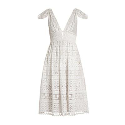 Deep V-Neck Broderie Anglaise Dress