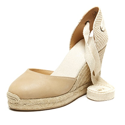 Tall Leather Espadrille Wedge Sandal