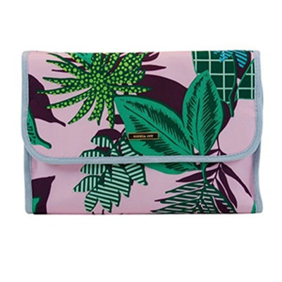 Striped Riviera Handle Organizer Cosmetic Bag