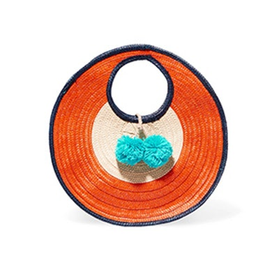 Adorada Mini Pompom-Embellished Woven Raffia Tote