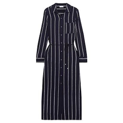 Rope Striped Voile Midi Dress