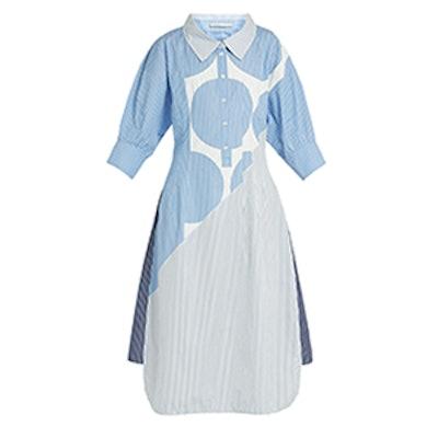 Sandrina Circle-Print Striped Cotton Shirtdress