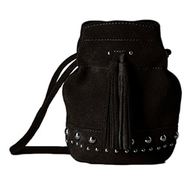 Kirby Mini Studded Suede Bucket Crossbody Bag