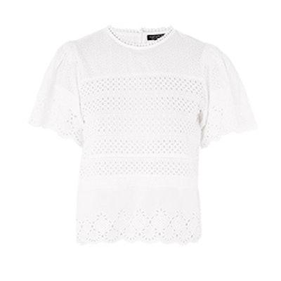 Broderie Ruffle Sleeve T-Shirt