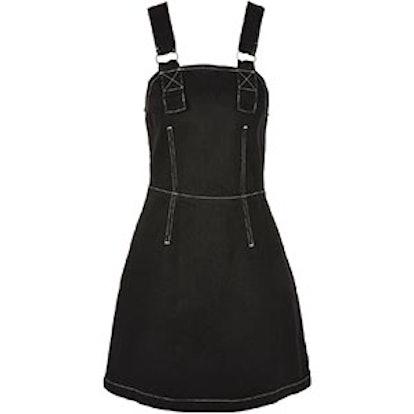 Contrast Stitch Denim Pinafore Dress