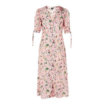 Floral Print Embroidered Midi Dress