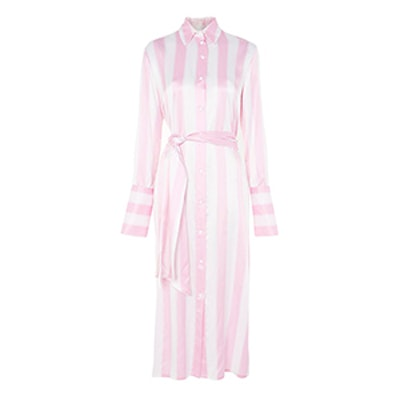 Silk Stripe Shirt Dress