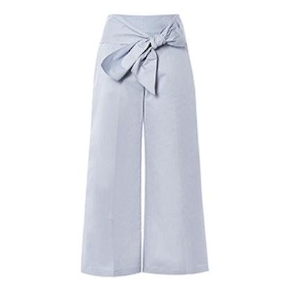 Poplin Crop Wide Trousers