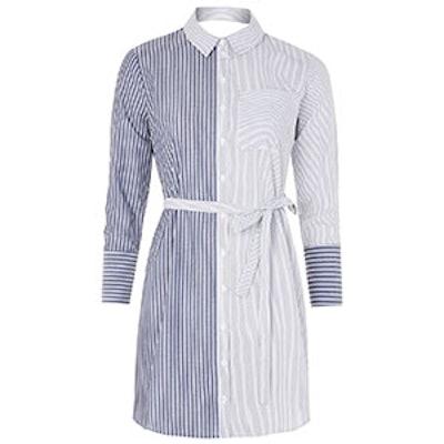 Stripe Wrap Back Shirtdress