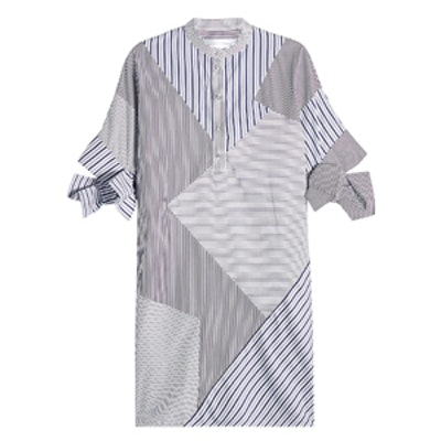 Striped Cotton Dress with Bow Sleeves
