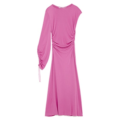 Gathered Dress With Asymmetric Sleeves