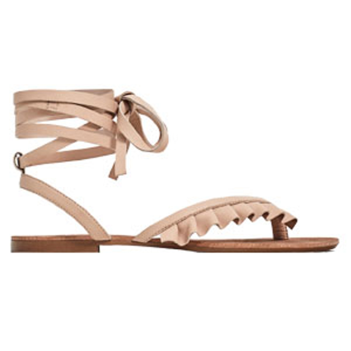 Flat Leather Sandals With Frills