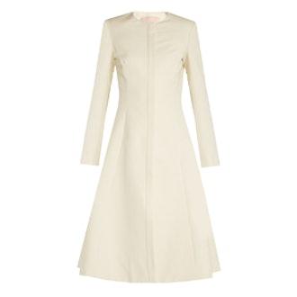 Carine Collarless Cotton-Blend Faille Coat