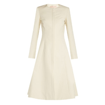 Carine Collarless Cotton-Blend Faille Coat