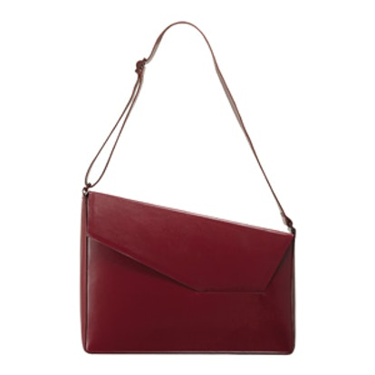 Geometric Structured Leather Shoulder Bag