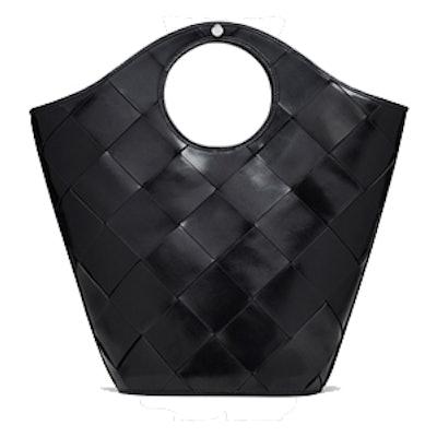 Market Woven Leather Shopper Tote Bag