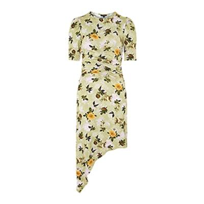 Ruched Floral Print Midi Shift Dress