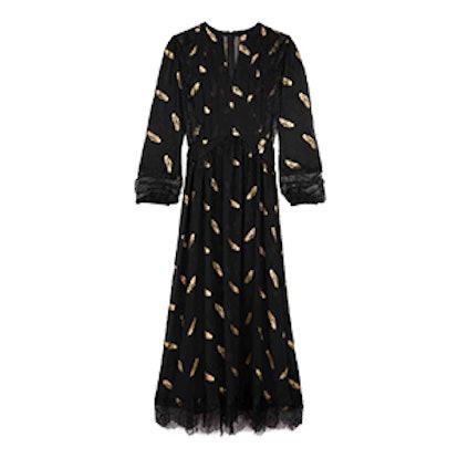 Long Feather Print Dress