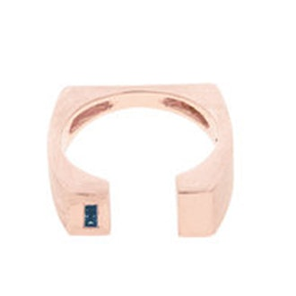 Signature Ring II With Sapphire Baguette, 10K Rose Gold