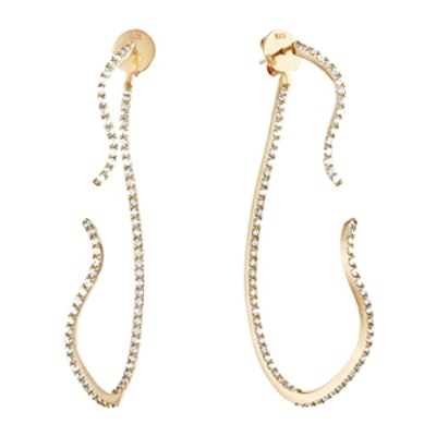 Curvy Two Part Earrings With Diamond Pave