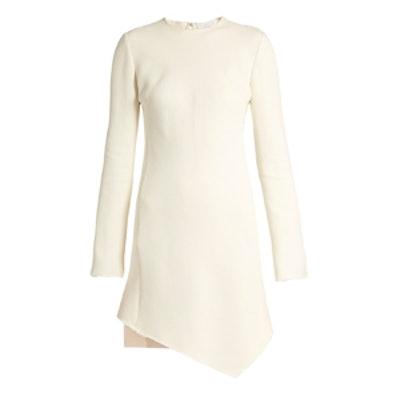 Asymmetric-Hem Crepe Long-Sleeved Dress