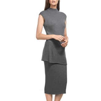 Flint Mélange Rib Mock Neck Asymmetric Top & Rib Skirt