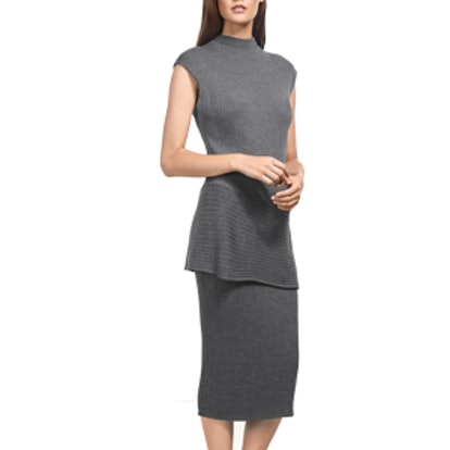 Flint Mélange Rib Mock Neck Asymmetric Top & Rib Skirt