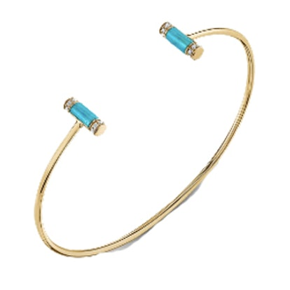 Yellow-Gold Roll Bangle With Pave Diamond