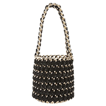 Gold Chain Shimmer Bucket Bag