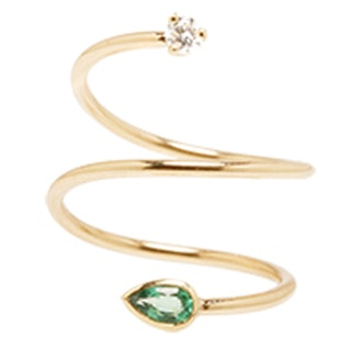 Gemfields Emerald And Diamond Swirl Ring