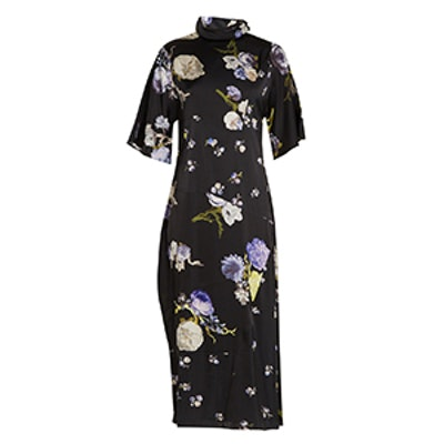 Dilona Floral-Print Satin Dress