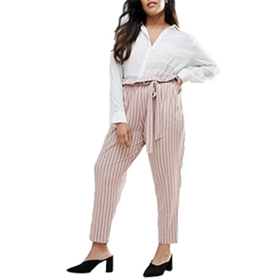 Peg Pants with Oversized Bow in Stripe